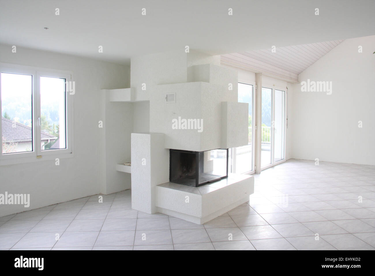 Switzerland, house, home, one family house, luxurious, inside, blank ...