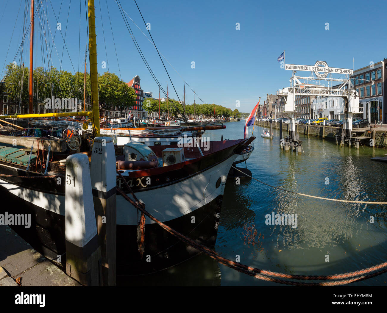 Netherlands, Holland, Europe, Dordrecht, Wool Weaver Port, port, city, village, water, summer, ships, boat, - Stock Image