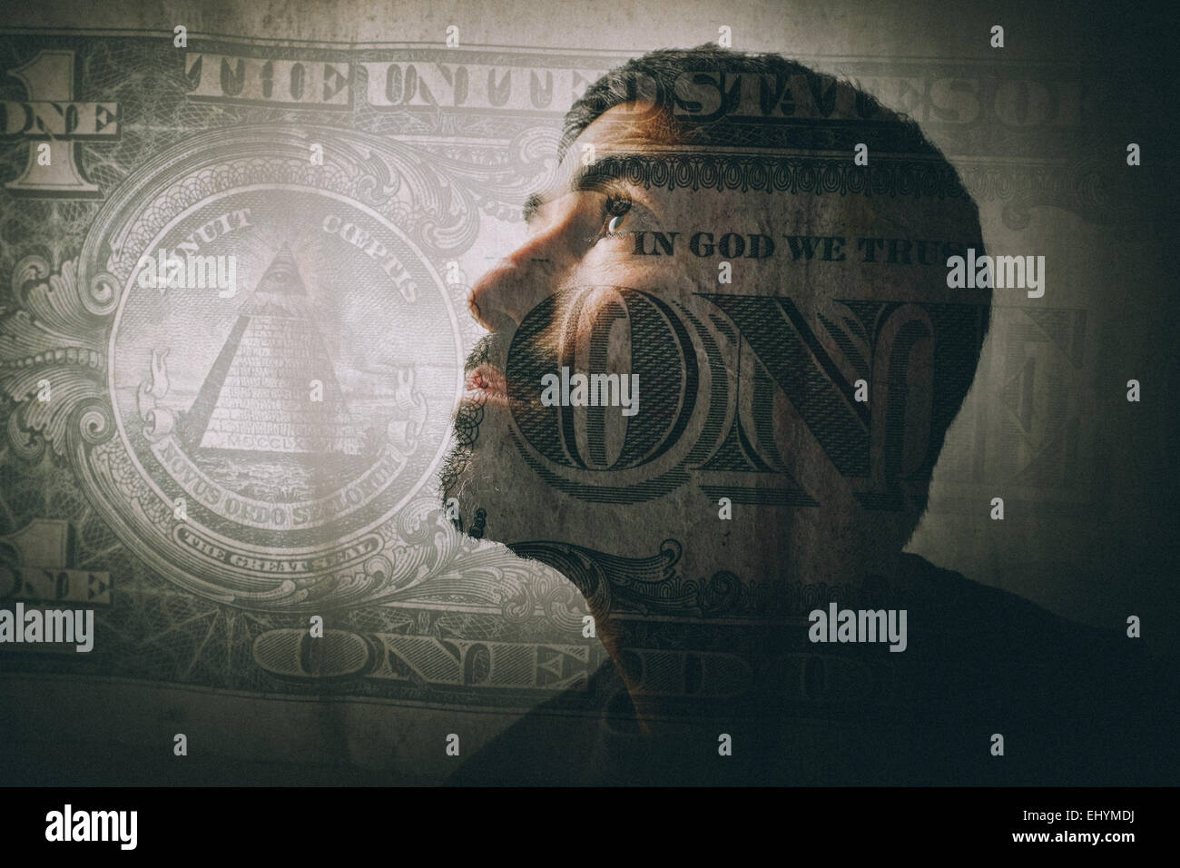 Double exposure of a man looking up and a one dollar bill - Stock Image