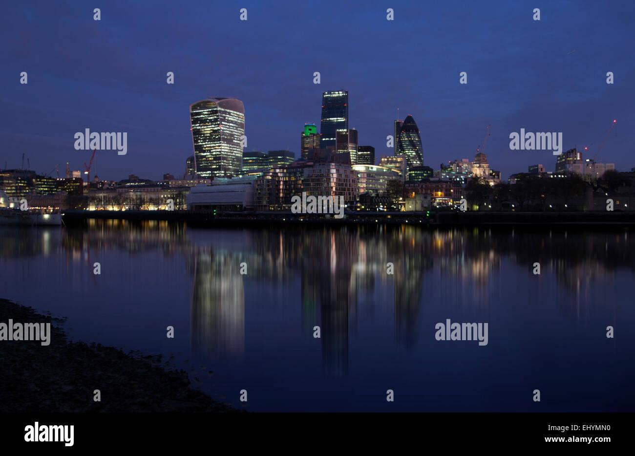 The Square Mile at night, London, UK - Stock Image