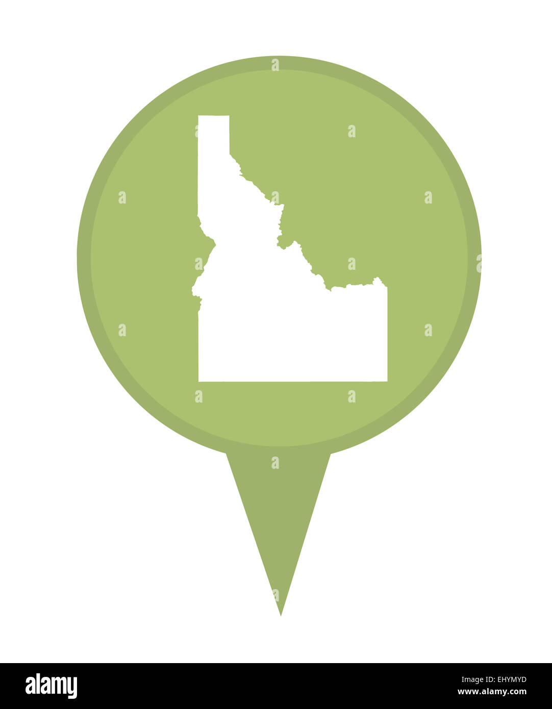 American state of Idaho marker pin isolated on a white background. - Stock Image