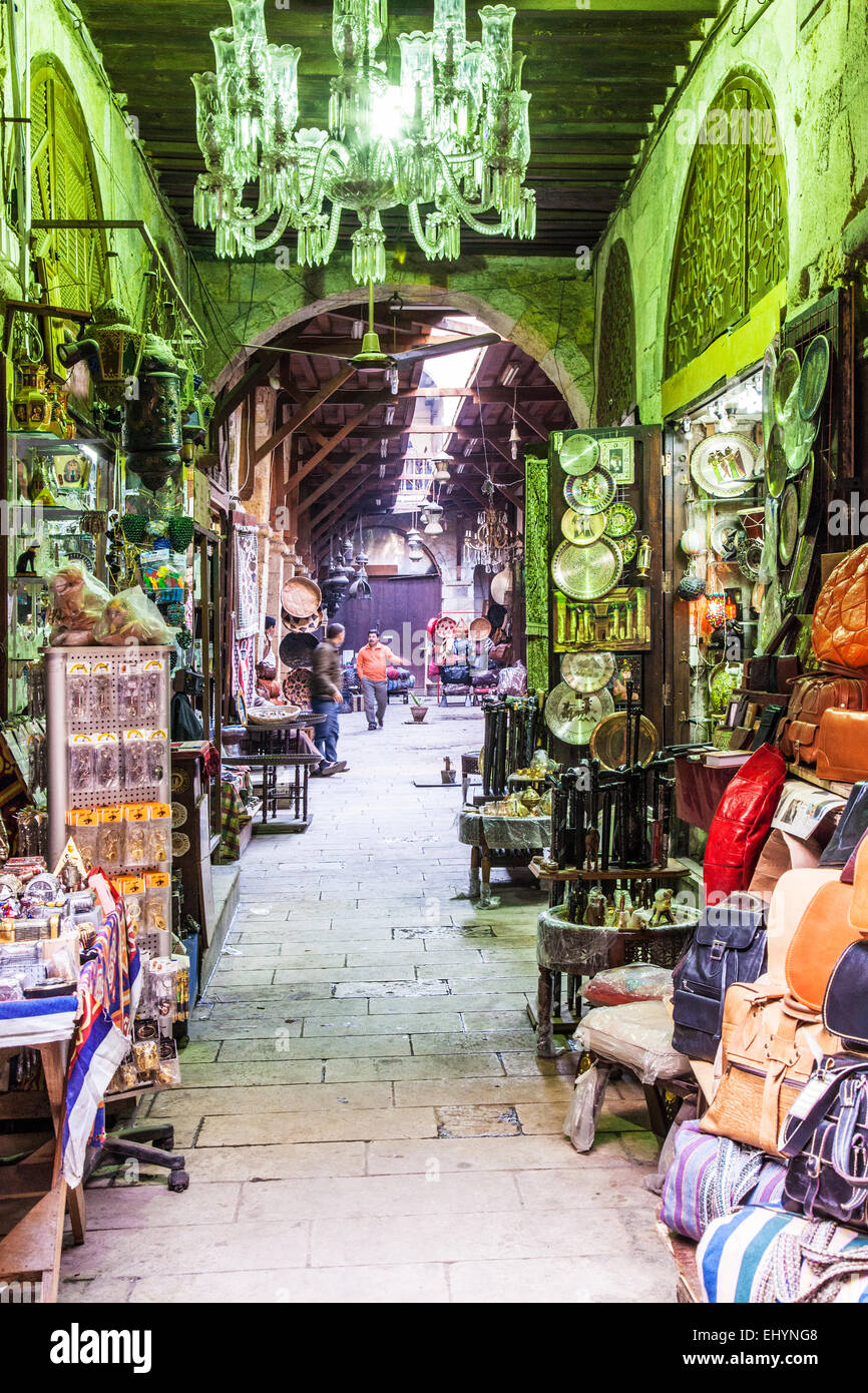 View of a street in the Khan el-Khalili souk in Cairo. - Stock Image