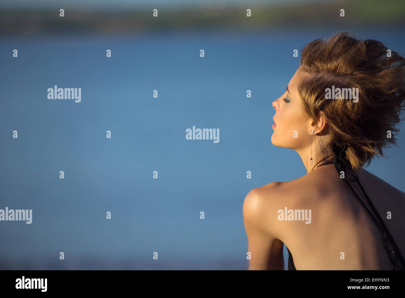 Rear view of a young woman sitting by sea - Stock Image