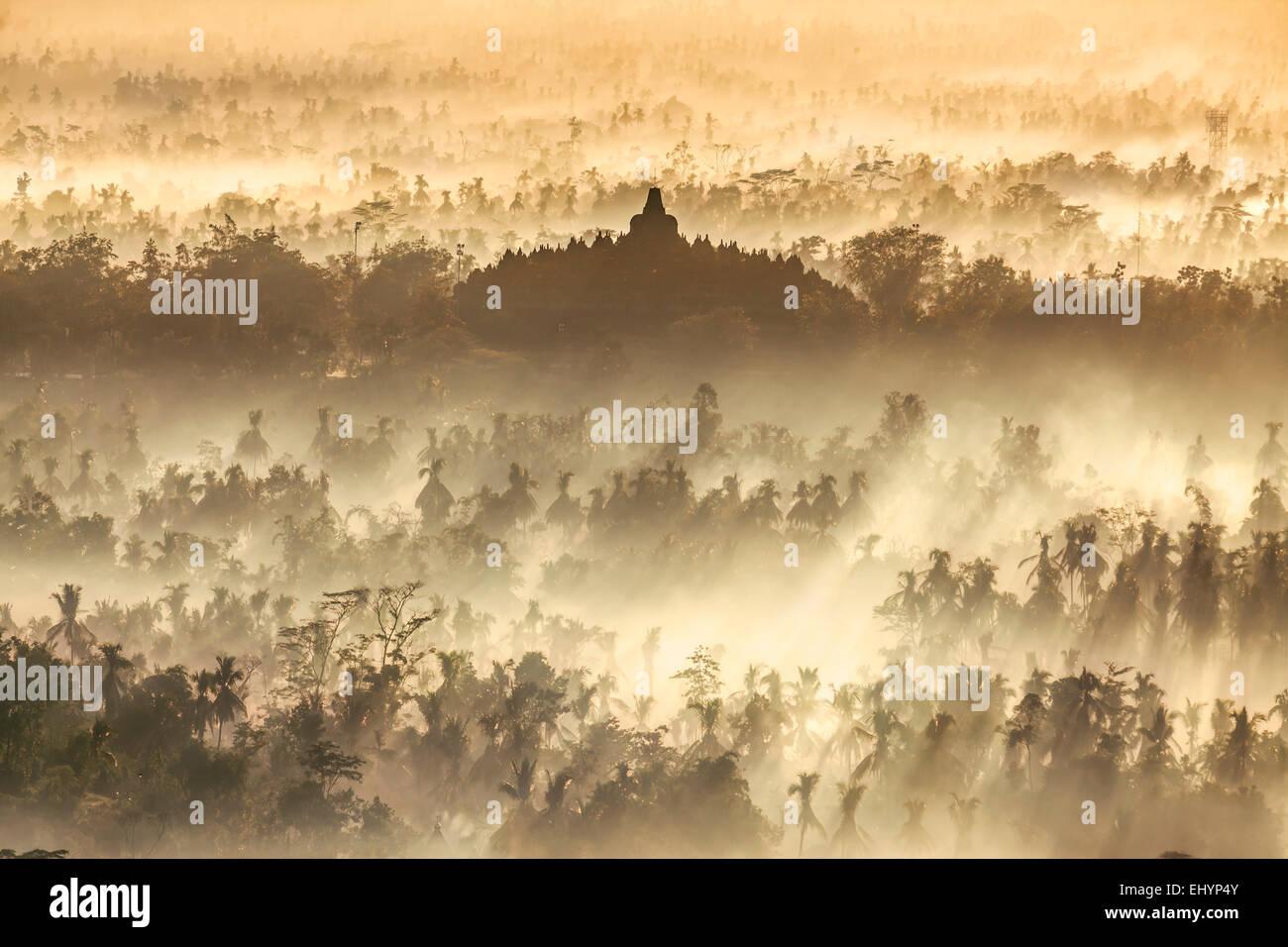 Borobudur Temple at sunrise, Central Java, Indonesia - Stock Image