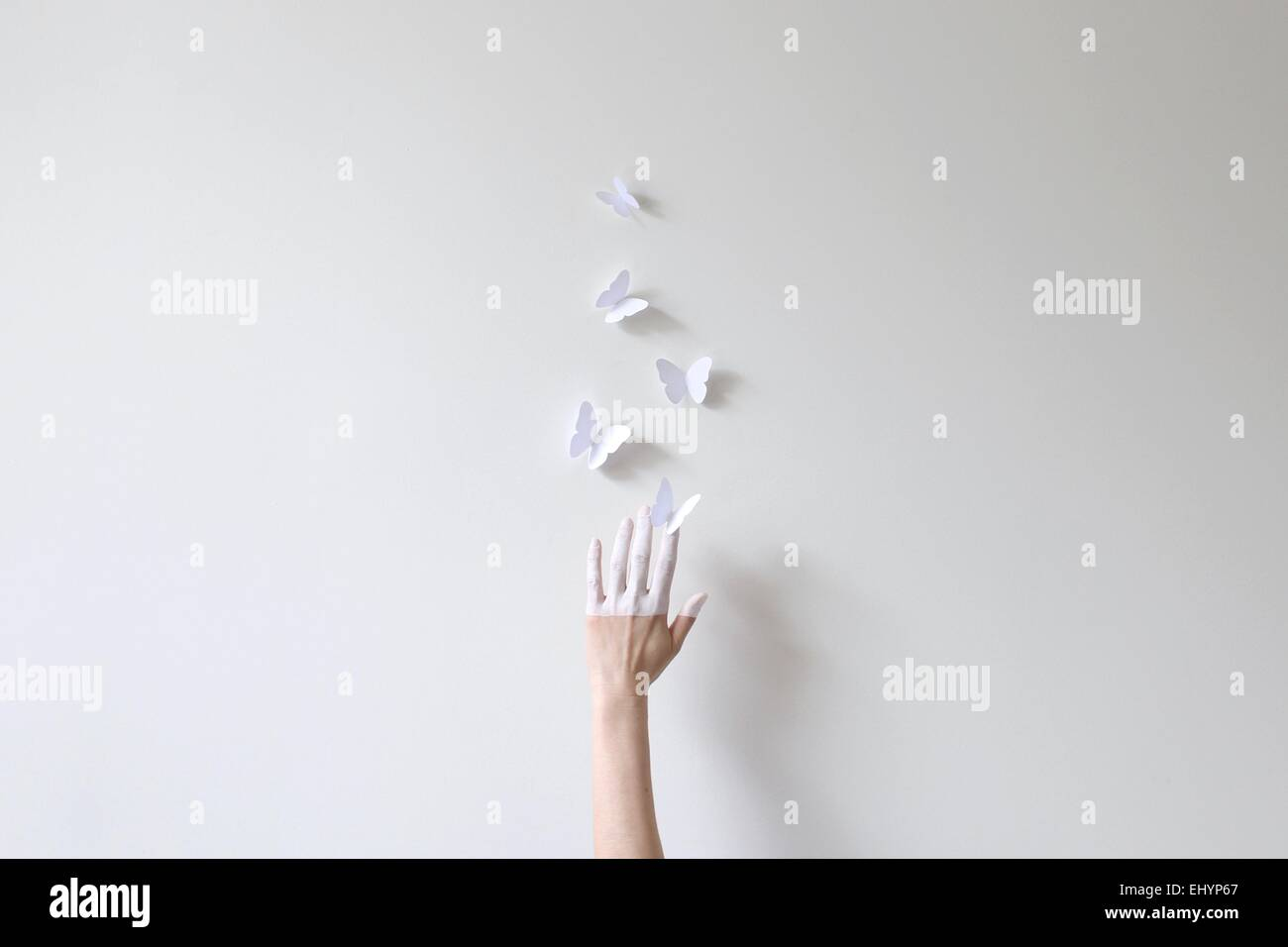 A hand half painted in white reaching for paper butterflies against white wall - Stock Image