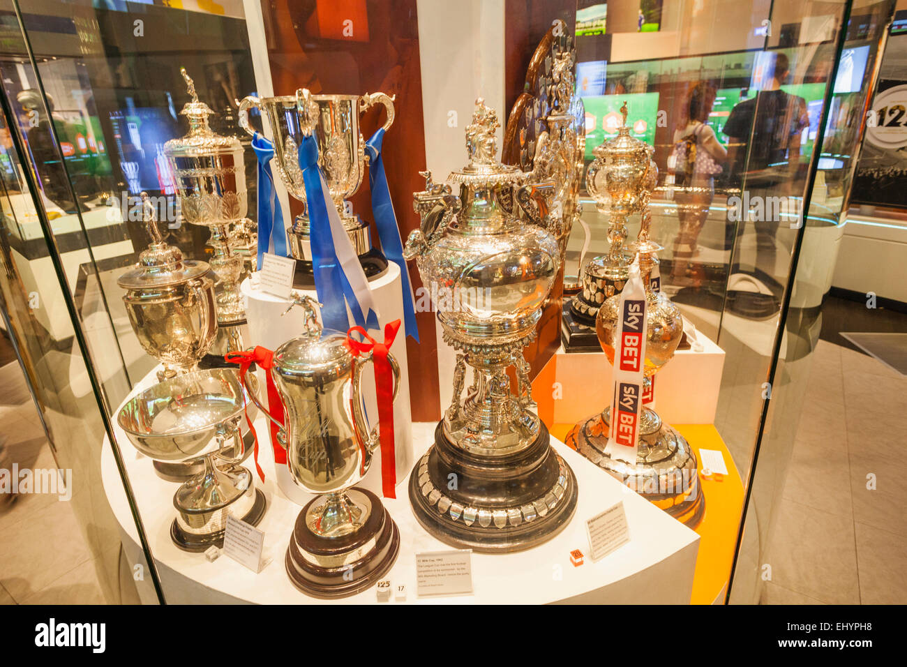 England Manchester City National Football Museum Exhibit Of Historical Cups And Trophies