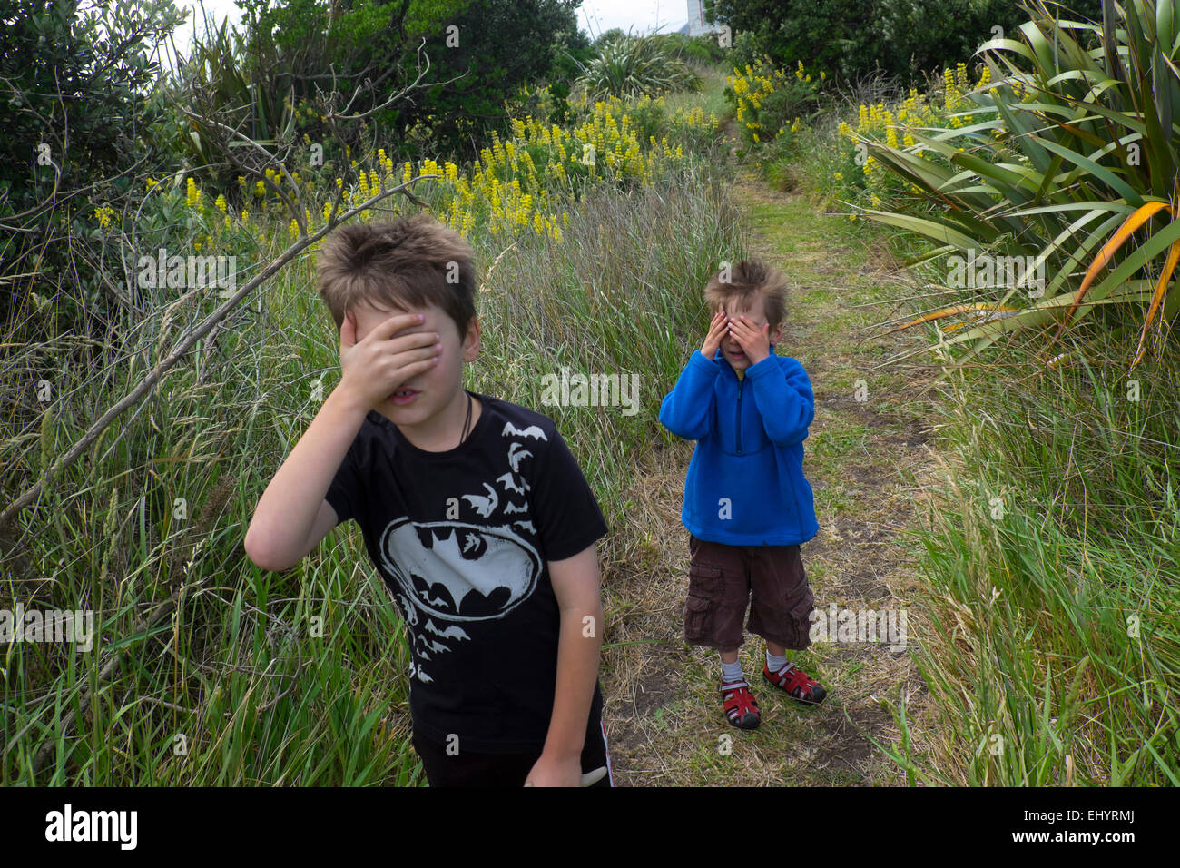 Children playing hide and seek, brothers 4 year old and 6 year old - Stock Image