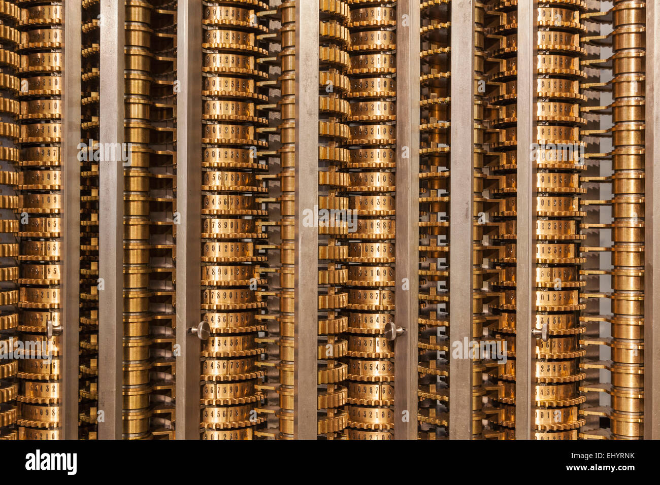 England, London, Kensington, Science Museum, Detail of Charles Babbage's Difference Engine No.2 - Stock Image