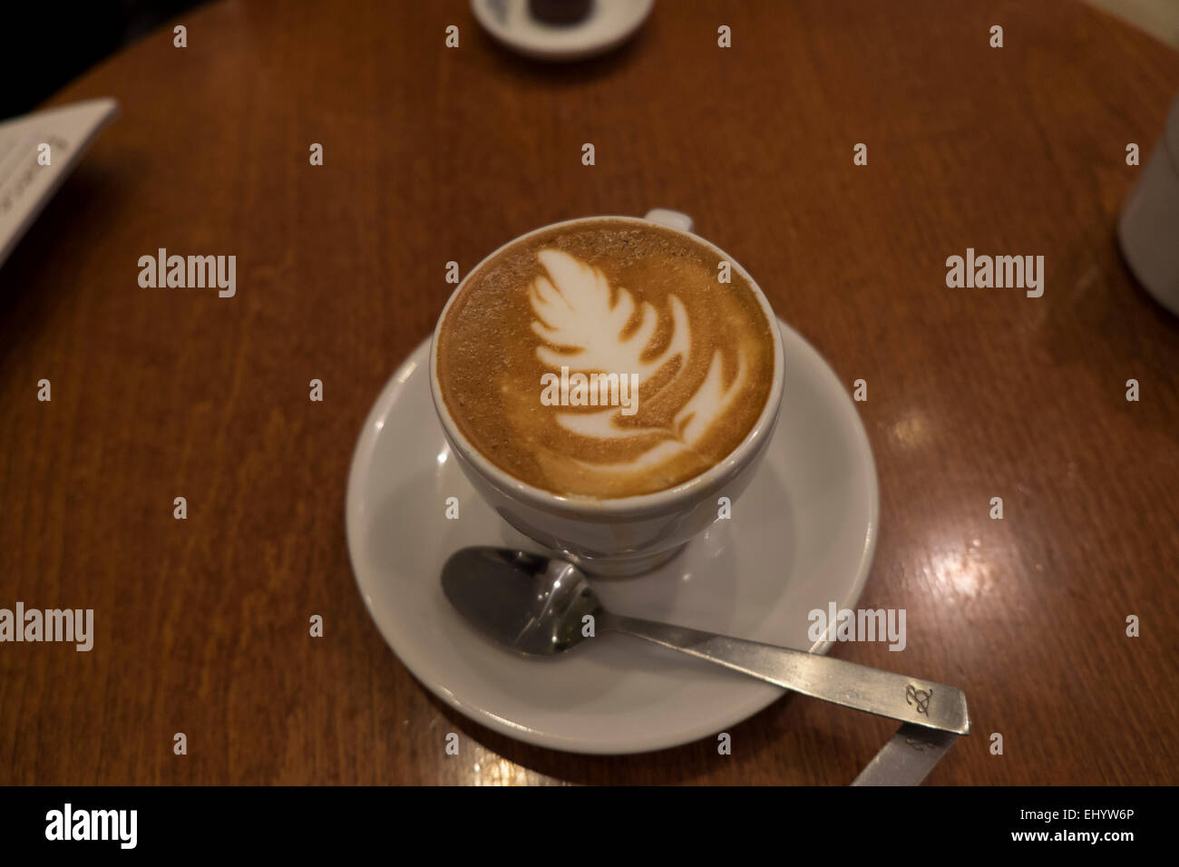 225611f4e31 Flat white coffee with New Zealand nationalicon, Silver fern or Rosetta  Artistic design in froth