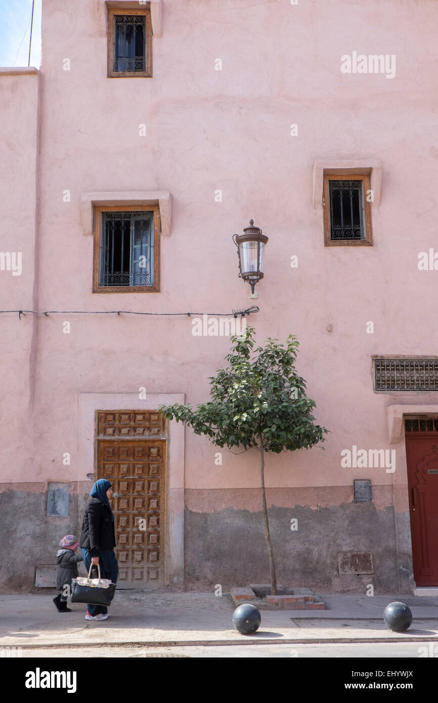Traditional town house,Medina, old town, Marrakesh, Marrakech, Morocco, North Africa - Stock Image