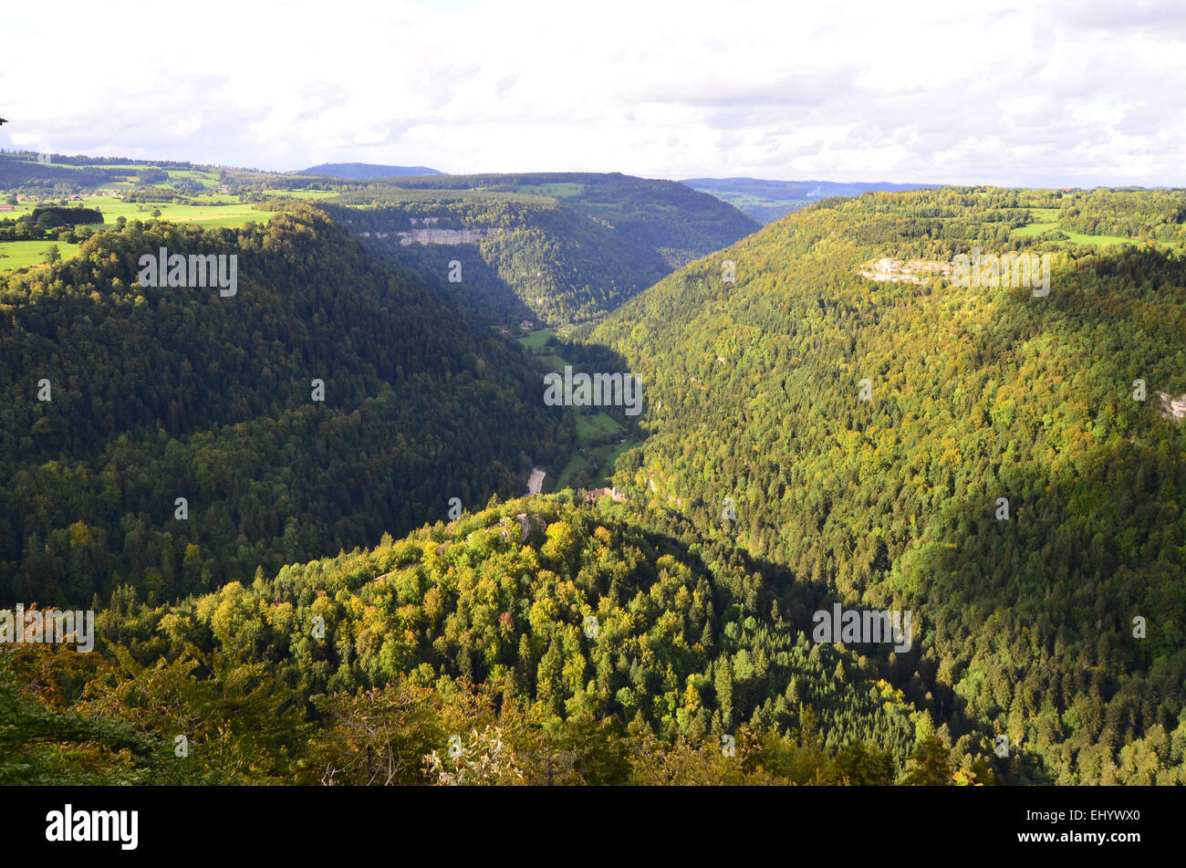 France, Europe, Jura, cirque de consolation, valley kettle, view, roche you pretre, departement doubs, wood, forest, - Stock Image
