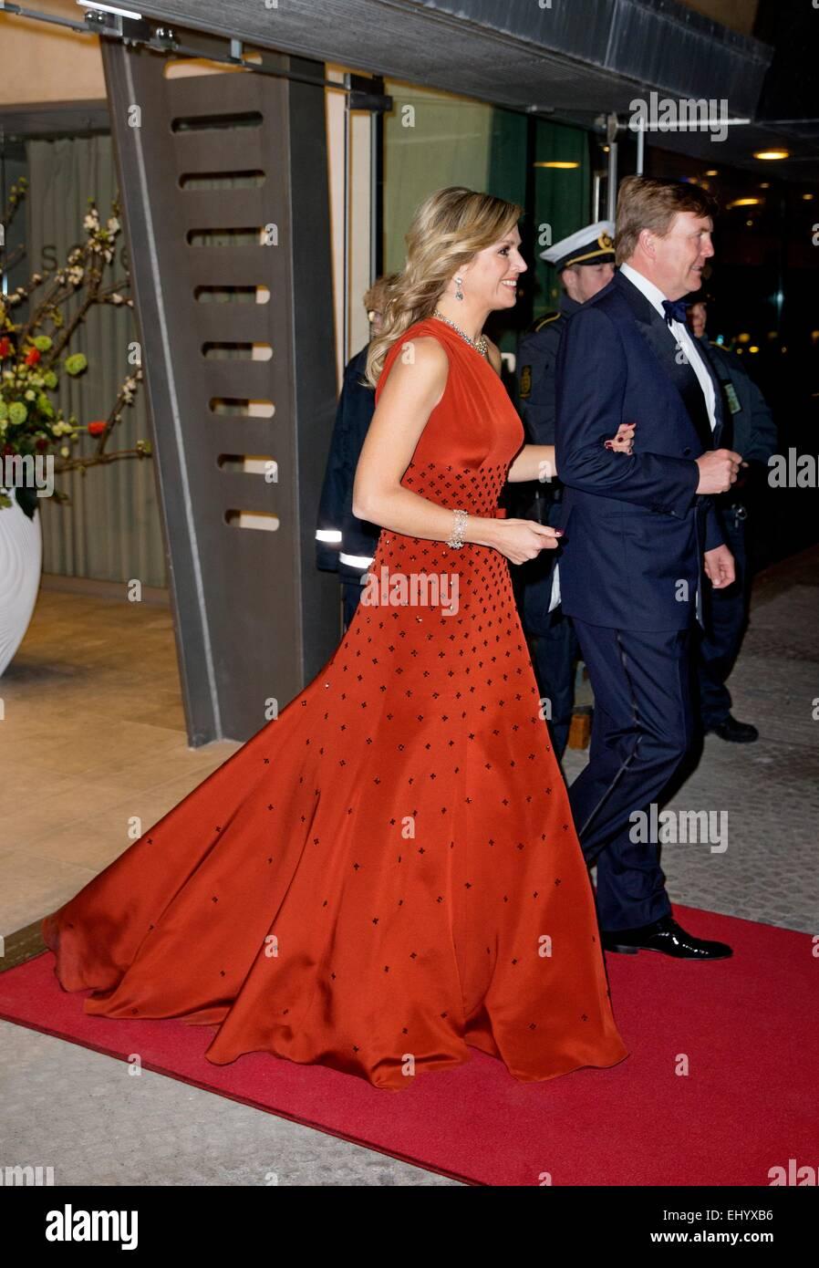 Copenhagen, Denmark. 18th Mar, 2015. King Willem-Alexander and Queen Maxima offer an cultural evening with modern Stock Photo