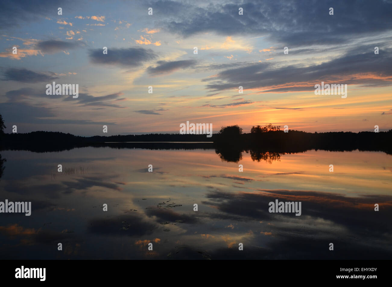 Sweden, Europe, lake, smaland, markaryd, store sjö, island, isle, summer, sundown, sunset, Stock Photo