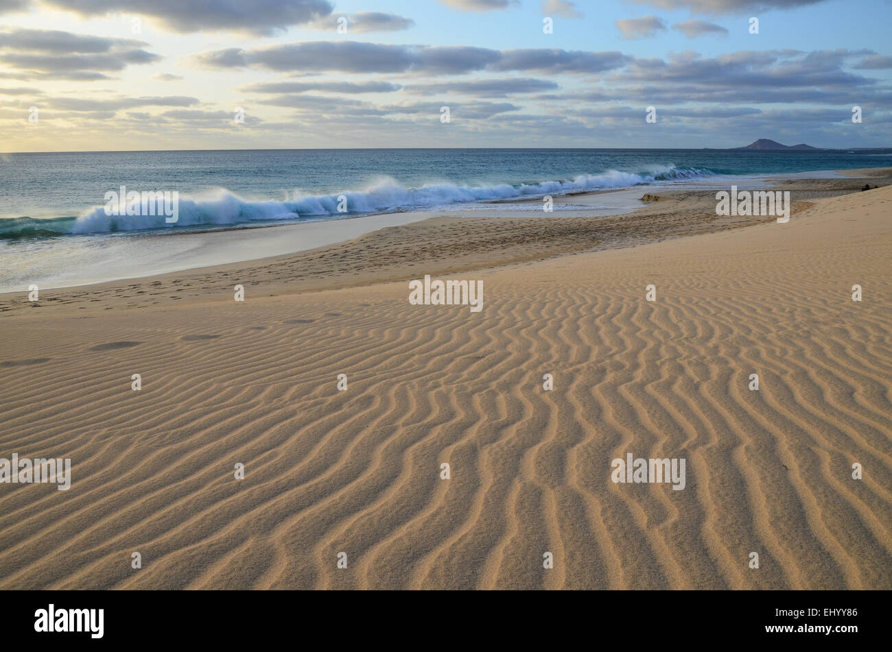 Cape Verde, Cape Verde Islands, sal, ponta preta, sand, dunes, sea, waves, Atlantic, beach, seashore, sand beach, Stock Photo