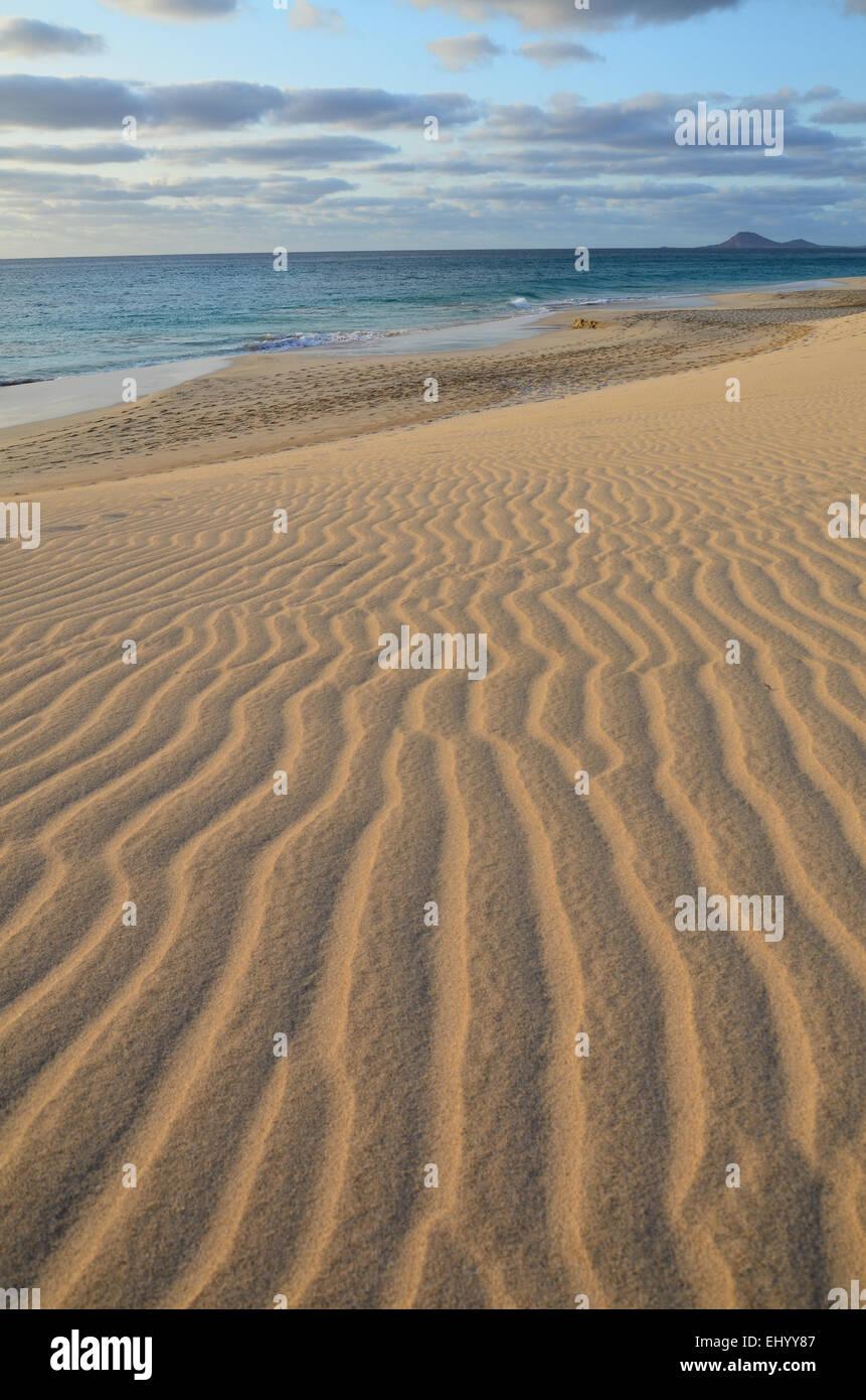 Cape Verde, Cape Verde Islands, sal, ponta preta, sand, dunes, sea, waves, Atlantic, beach, seashore, sand beach, Stock Photo