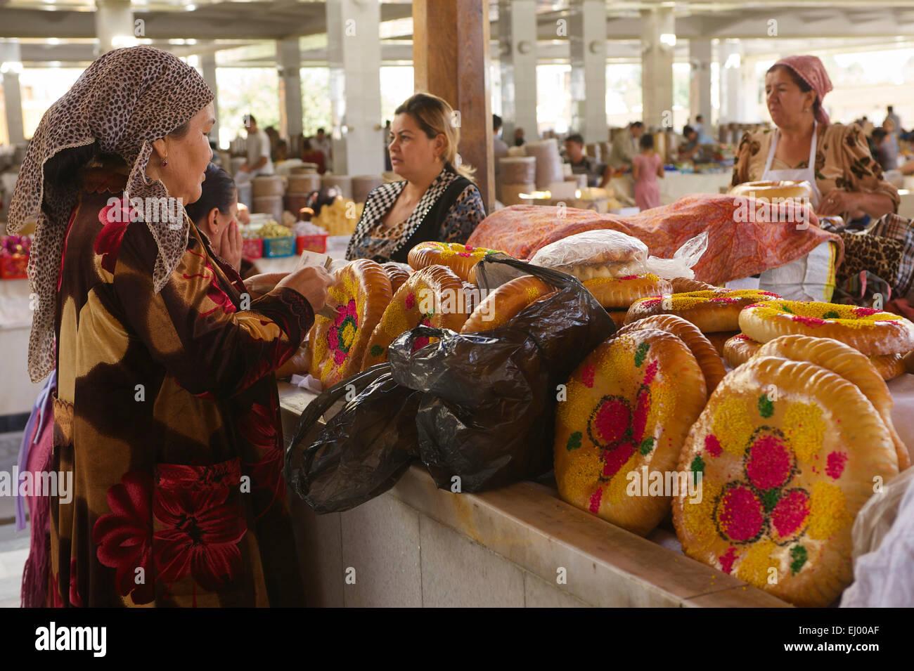 Asia Uzbekistan Central Silk Road Inside Day Market Stall State Sales Stand Bazaar Samarkand Food Peopl