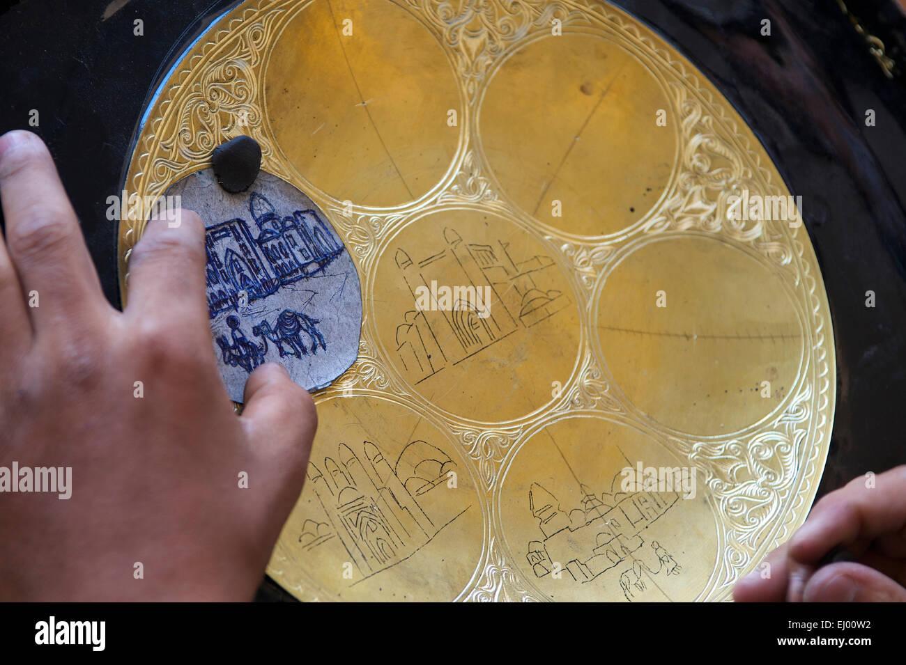 Asia Uzbekistan Central Silk Road Outside Inside Craft Art Tradition Traditional Plate Buxoro Bukhara Person P