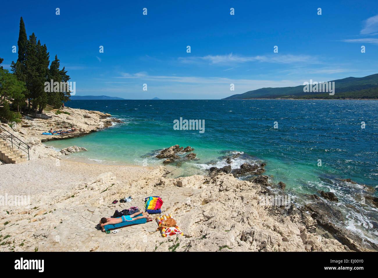 Istria, Europe, Croatia, outside, day, Rabac, Adriatic, Mediterranean Sea, sea, coast, sand beach, beach, seashore, - Stock Image