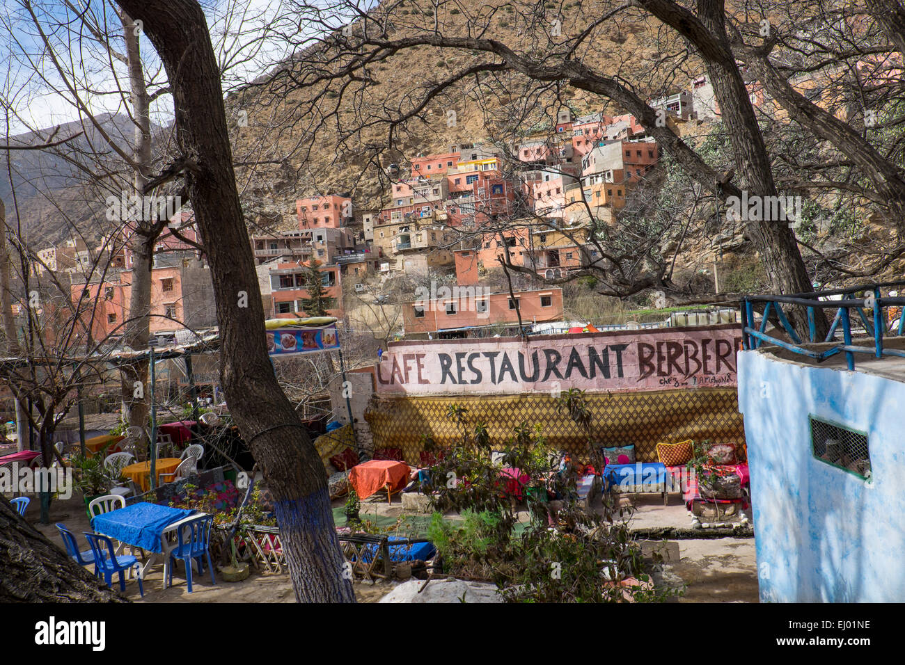 Cafe on hillside, Setti Fatma village, Ourika Valley, Atlas Mountains, Morocco, North Africa Stock Photo