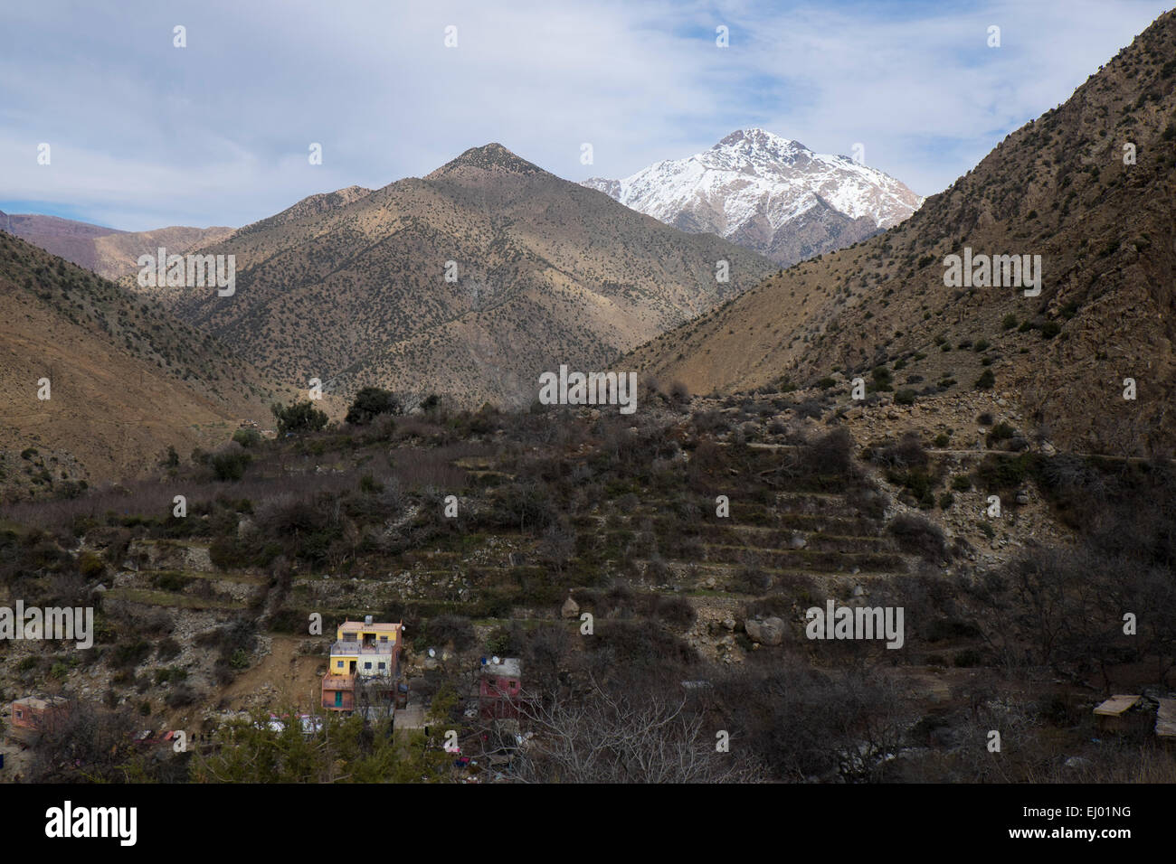Tourists having lunch, Setti Fatma village, Ourika Valley, Atlas Mountains, Morocco, North Africa Stock Photo