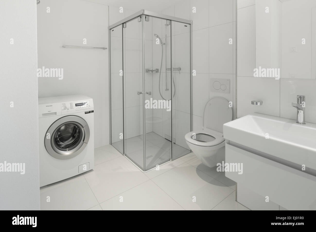 Architecture, bathtub, bathroom, house, home, interior, Switzerland, WC, apartment, bath, toilet, white, - Stock Image