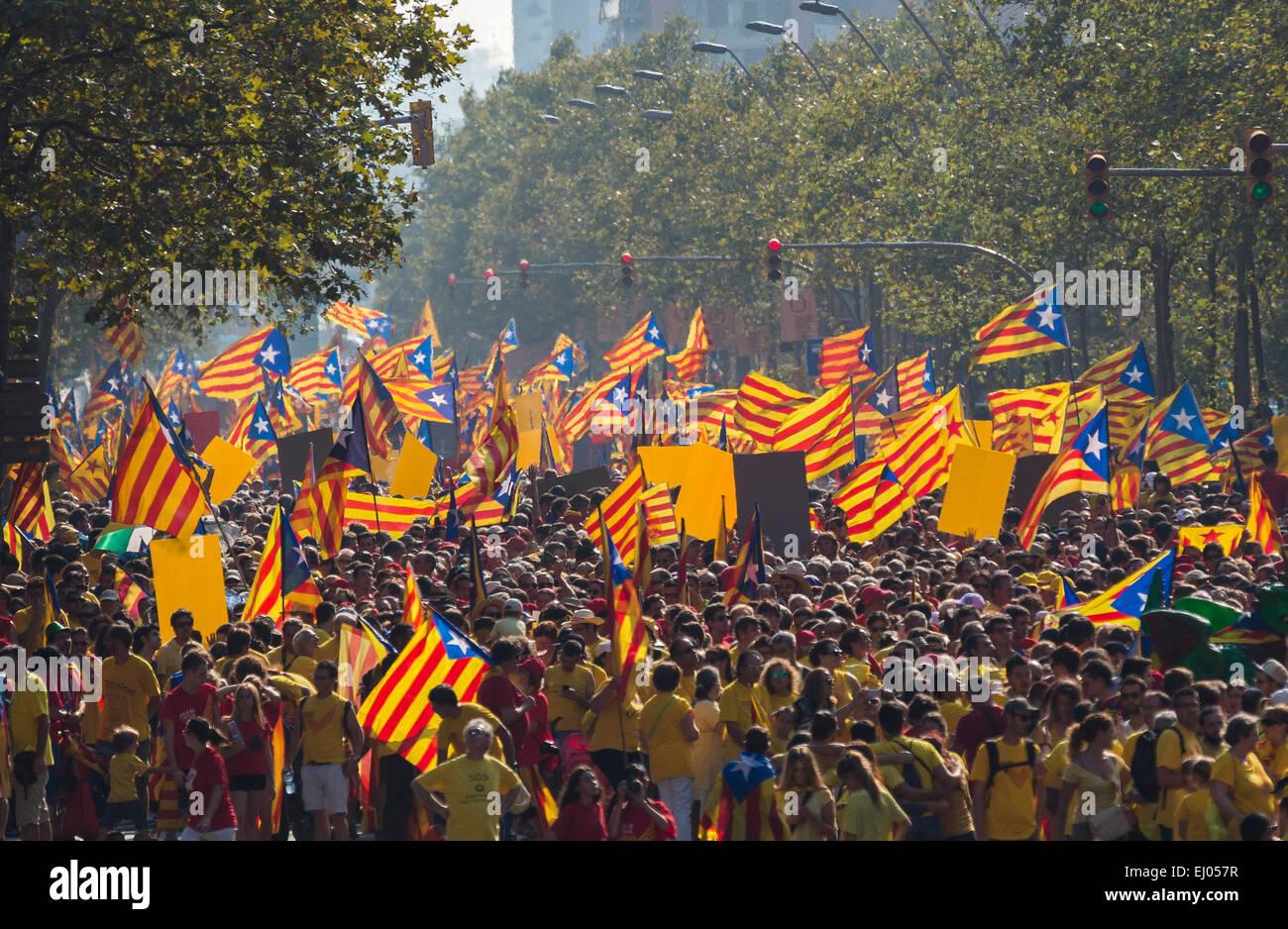 Diada, Barcelona, City, Catalonia, celebration, colourful, crowd, Demonstration, no model-release, flags, history, - Stock Image