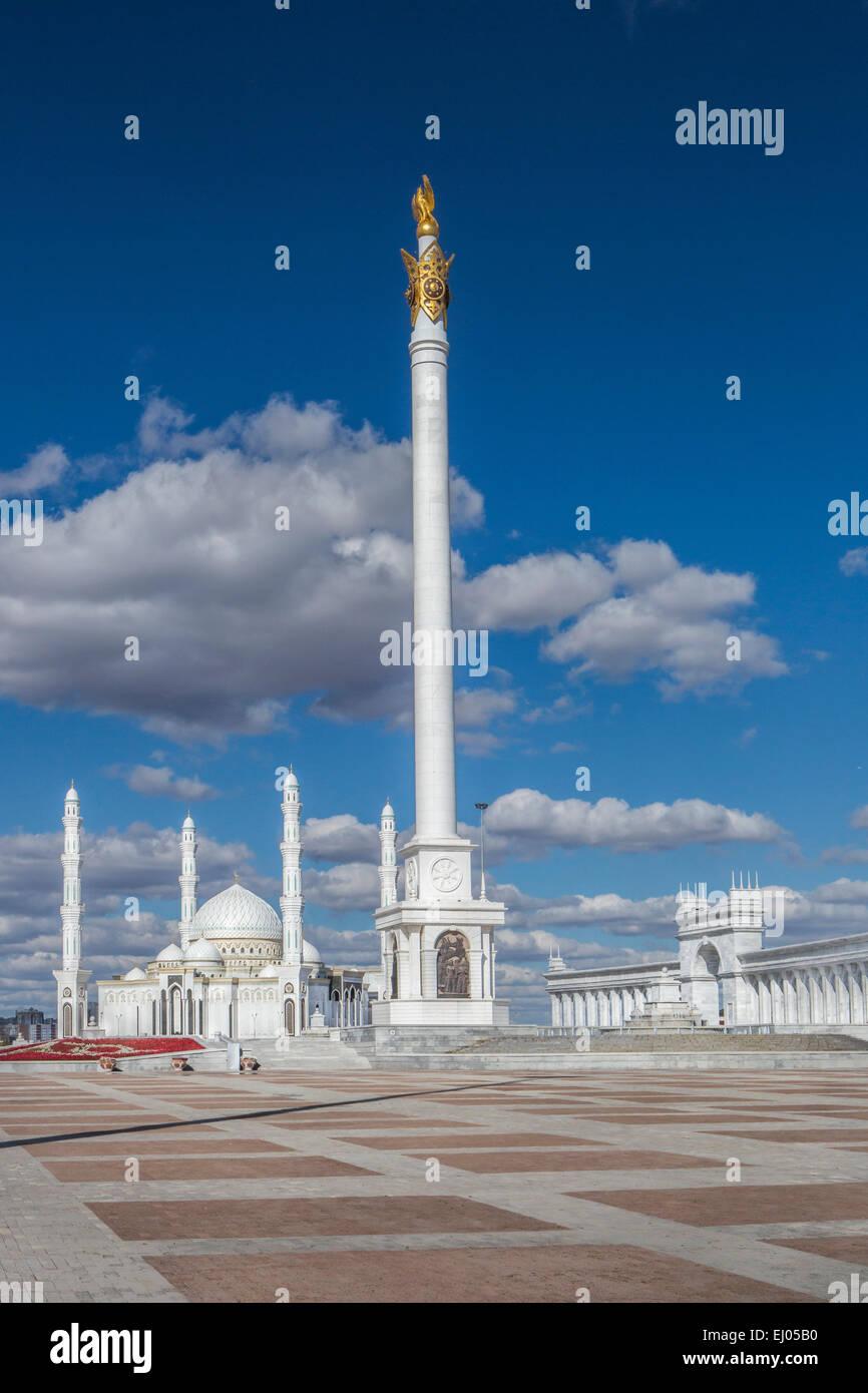 Kazakh Country, Administrative City, Astana, City, Kazak Yeli, Kazakhstan, Central Asia, Monument, Monument, Hazret - Stock Image