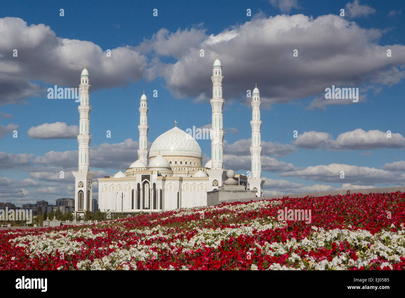Administrative City, Astana, City, Kazakhstan, Central Asia, Monument, Monument, Hazret Sultan, Mosque, New, Summer, - Stock Image