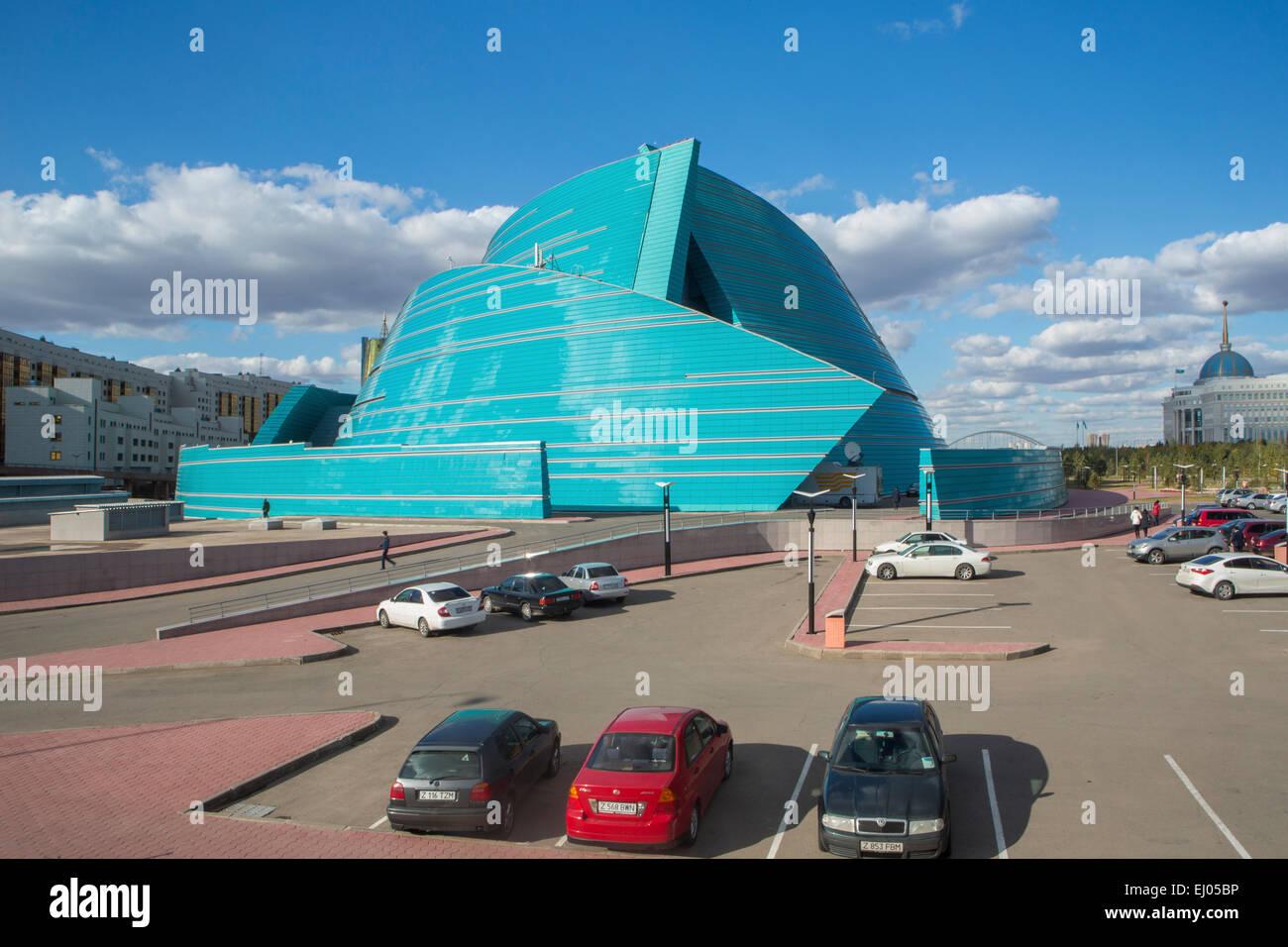Administrative, Astana, Auditorium, building, City, Kazakhstan, Central Asia, Manfredi, New, State, Summer, architect, - Stock Image