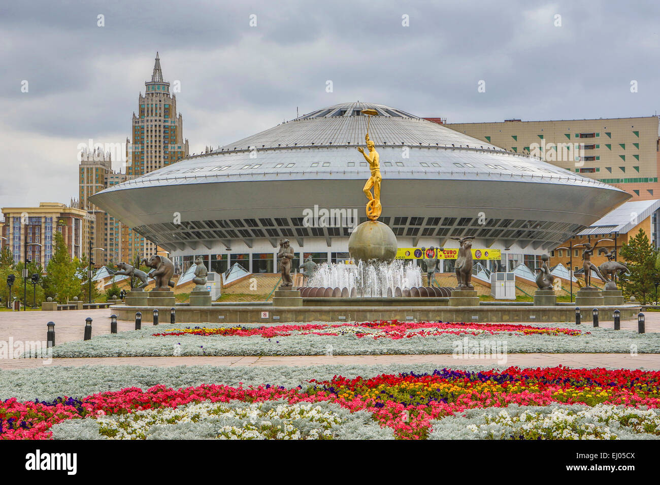 Astana, City, Circus, Kazakhstan, Central Asia, New, Summer, architecture, no people, touristic, travel - Stock Image