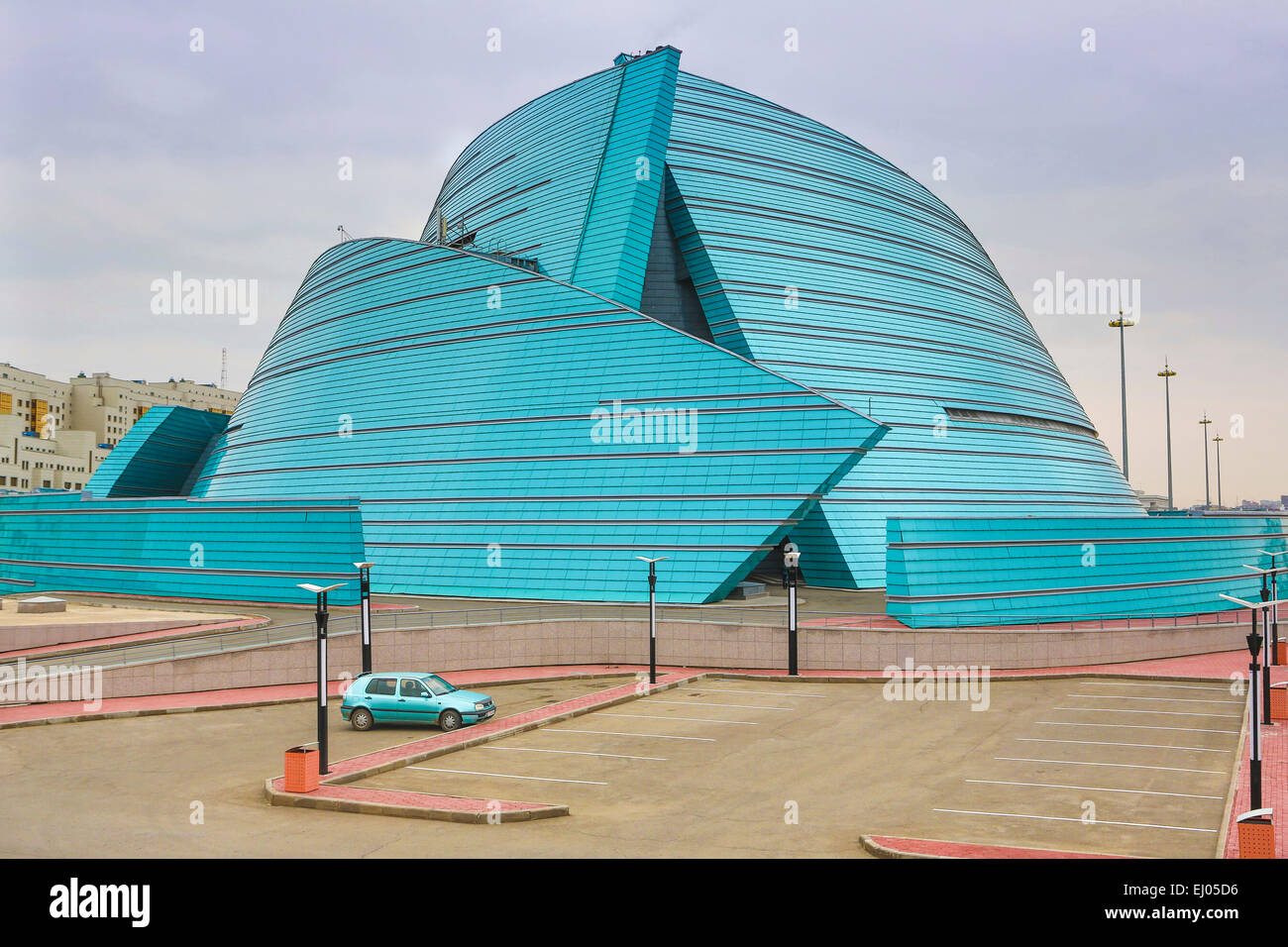 Administrative, Astana, Auditorium, building, City, Kazakhstan, Central Asia, Manfredi, New, State, Summer, architect, - Stock Image