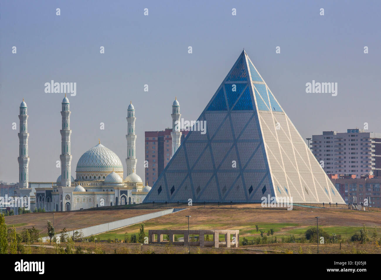 Administrative City, Astana, building, City, Kazakhstan, Central Asia, Mosque, New, Peace and Accord, Summer, architecture, Stock Photo