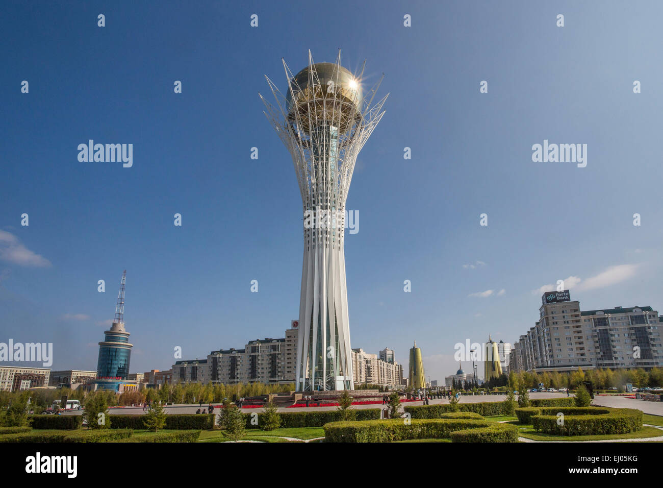 Astana, Avenue, Boulevard, City, Kazakhstan, Central Asia, Monument, New City, Nurzhol, architecture, colourful, - Stock Image