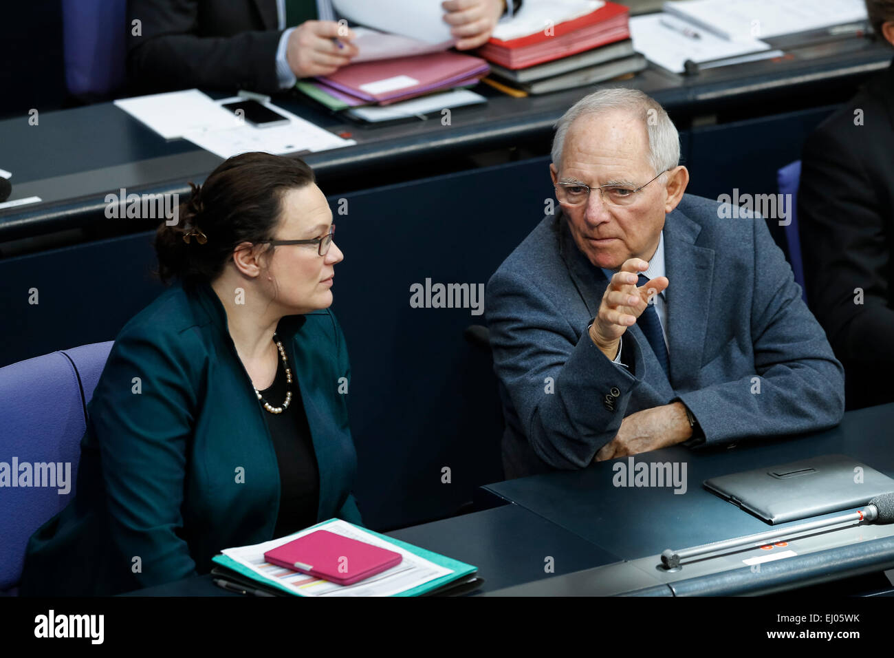 Berlin, Germany. 19th Mar, 2015. Delivery of a governmental declaration by the German Chancellor Angela Merkel in the Bundestag on March 19, 2015 in Berlin, Germany. / Picture: Andrea Nahles (SPD), German Minister of Labour and Social Affairs, and Wolfgang SchŠuble (CDU), German Minister of Finance. Credit:  Reynaldo Chaib Paganelli/Alamy Live News Stock Photo