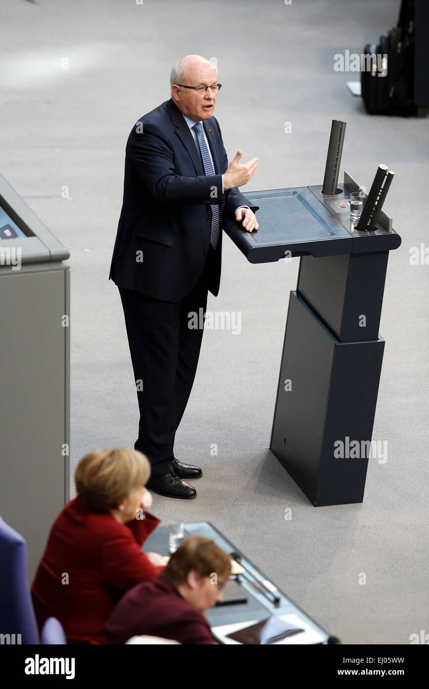 Berlin, Germany. 19th Mar, 2015. Delivery of a governmental declaration by the German Chancellor Angela Merkel in - Stock Image