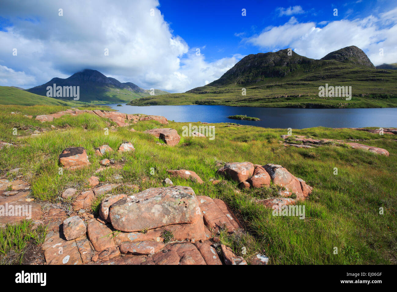 View, mountain, mountains, mountains, water, summits, peaks, Great Britain, Highland, highlands, sky, highland, Stock Photo
