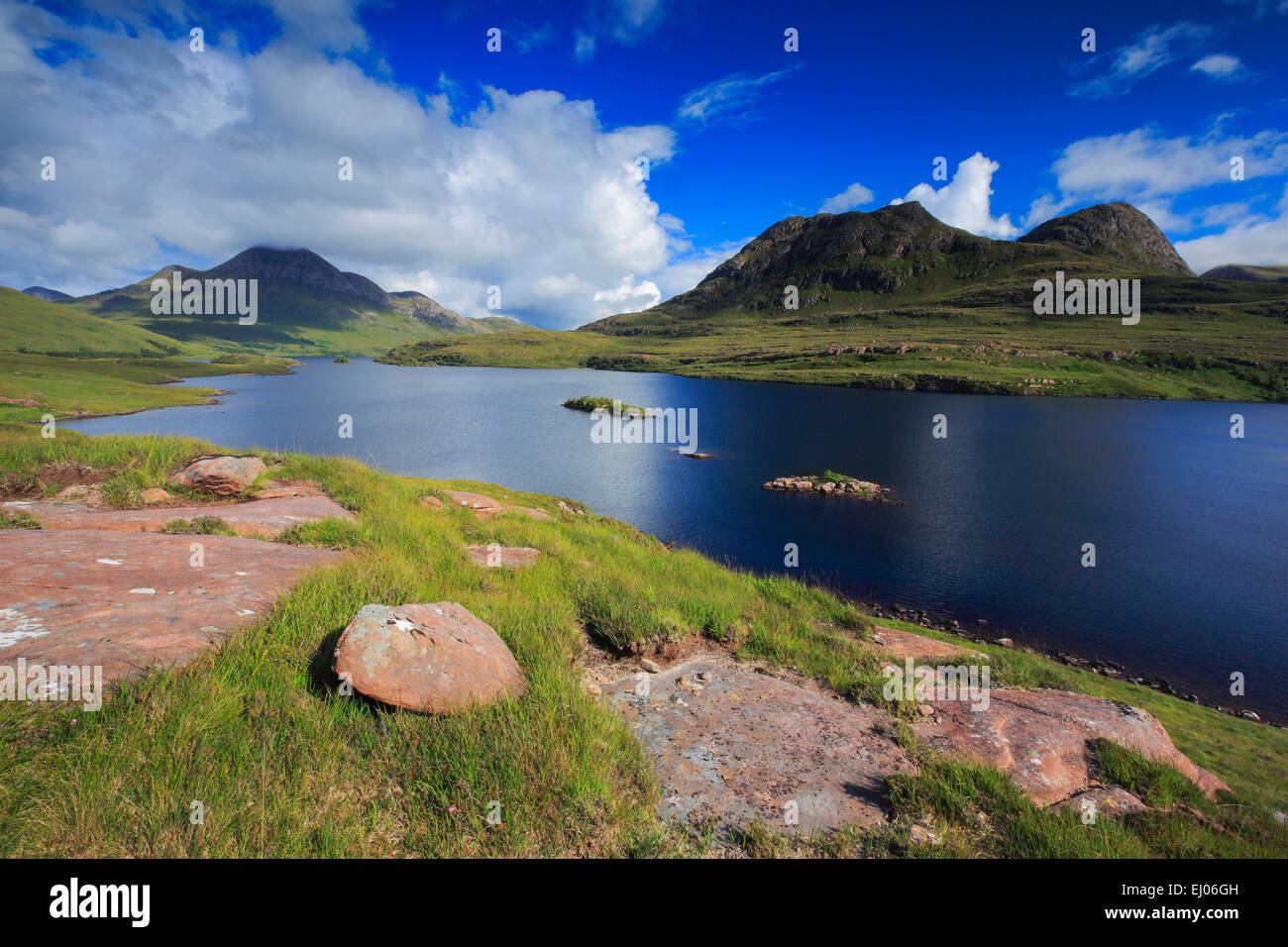 View, mountain, mountains, mountains, water, summits, peaks, Great Britain, Highland, highlands, sky, highland, - Stock Image