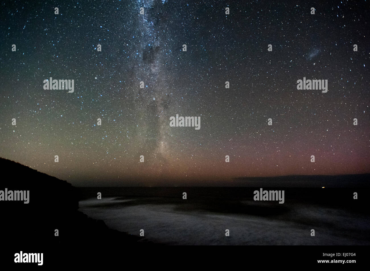 milky way from the bluff at 13th beach near barwon heads. 10pm 18mar2015. - Stock Image