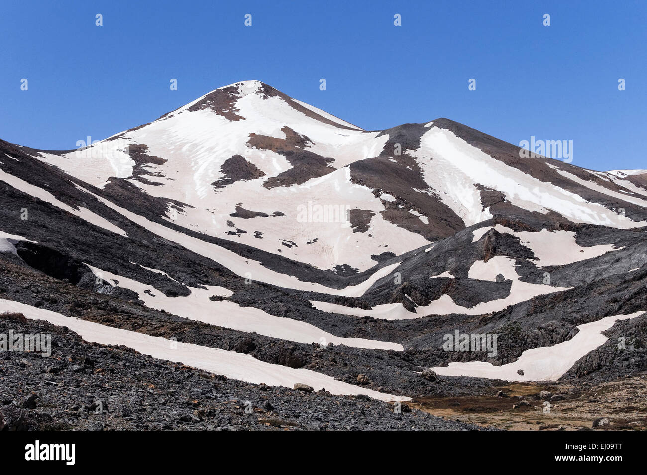 Aerosol, particle, mountains, peak, mountain world, mountain wilderness, rocky, cliff scenery, spring, mountains, - Stock Image