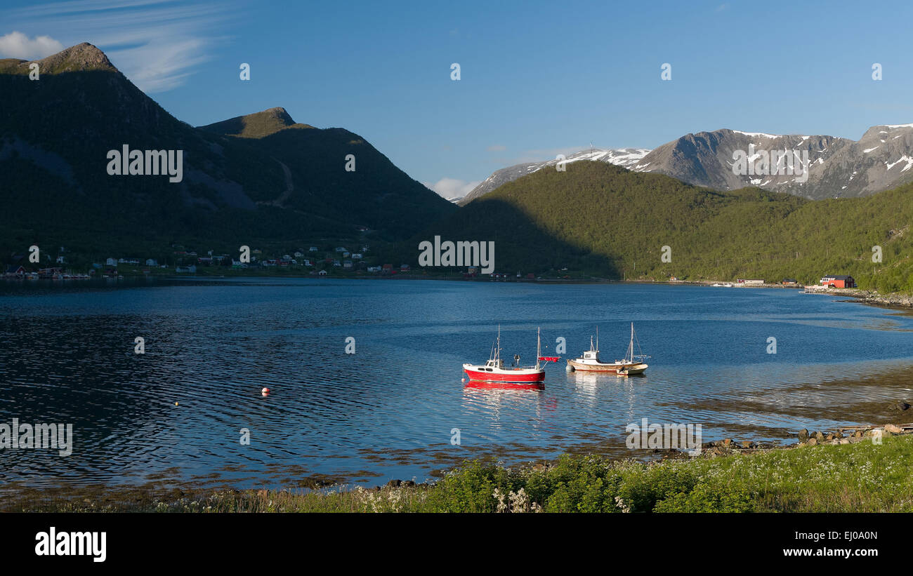 Boat, bay, fishing boat, fishing, fishery, fjord, mountains, coast, costal, range, cutter, scenery, landscape, bay, - Stock Image