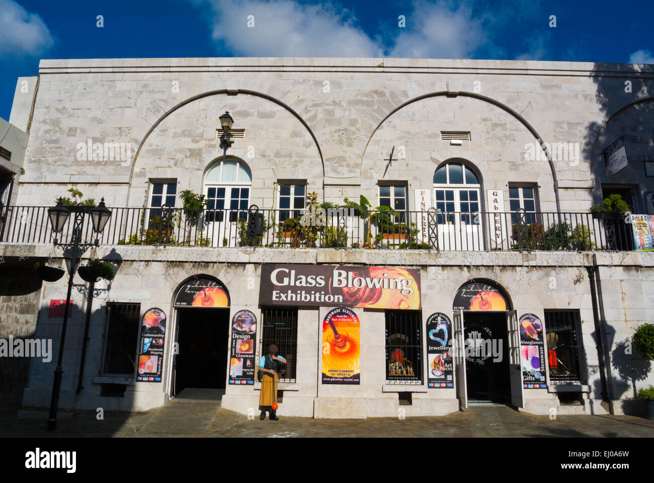 Glass blowing exhibition and jewellery shop, local glassware, Grand Casemates square, Gibraltar, Europe - Stock Image