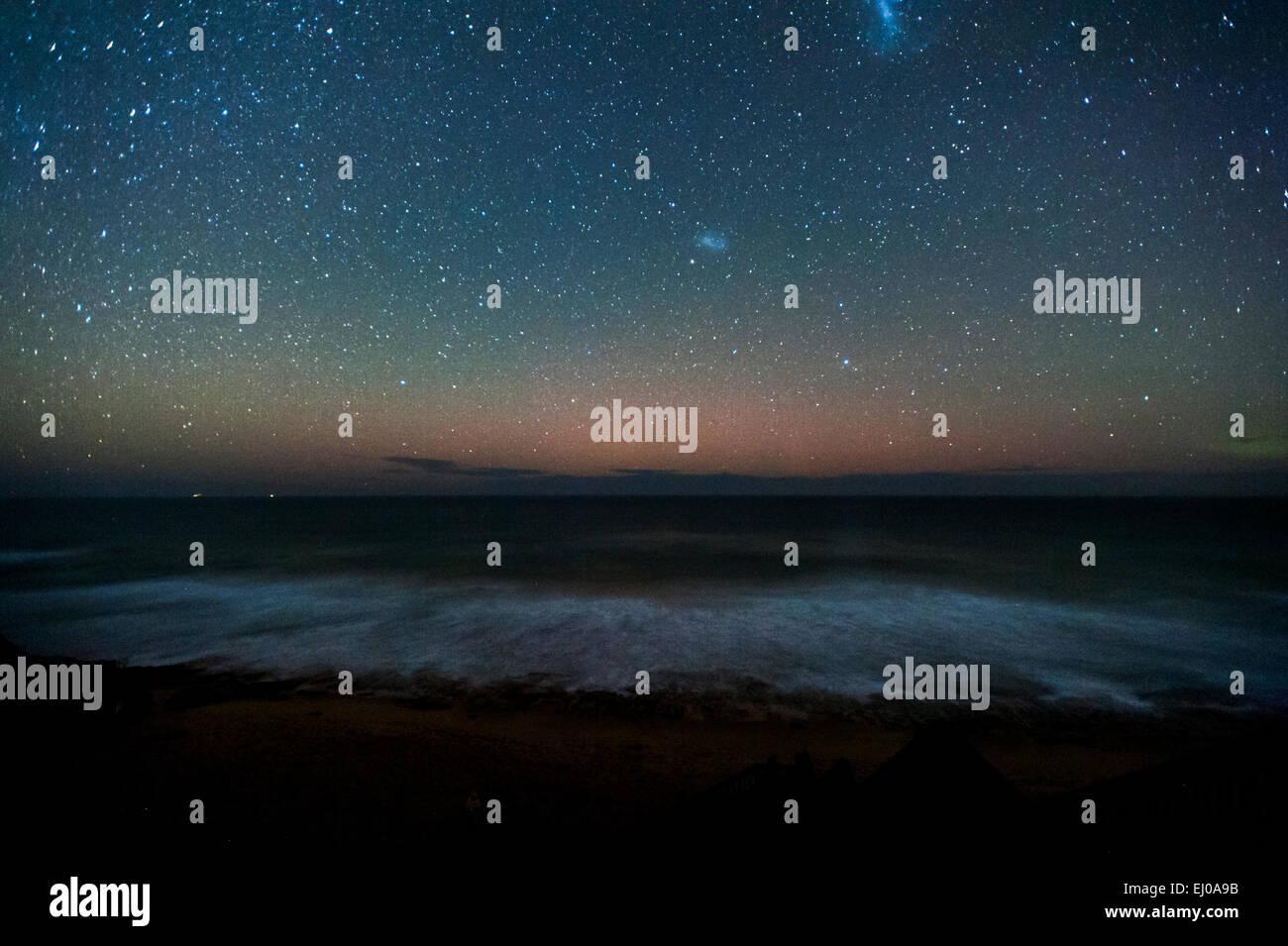 aurora australis (southern lights) and night sky from 13th beach. barwon heads. Victoria. Australia. 10pm 18mar2015. - Stock Image