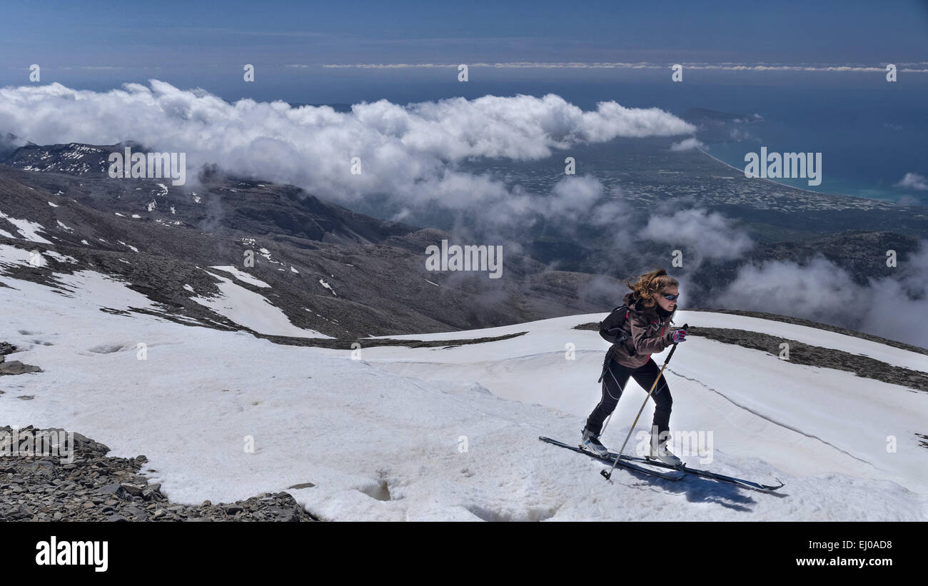 Mountain, mountain, landscape, blue, mountains, mountainous region, summit, peak, Greece, Europe, sky, Ida mountains, - Stock Image