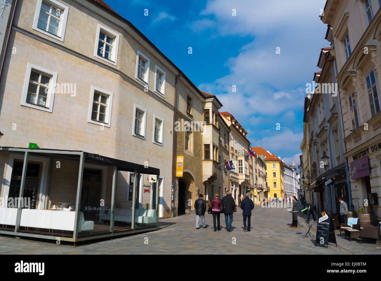 Venturska street, with many restaurants, bars and cafes, old town, Bratislava, Slovakia, Europe - Stock Image