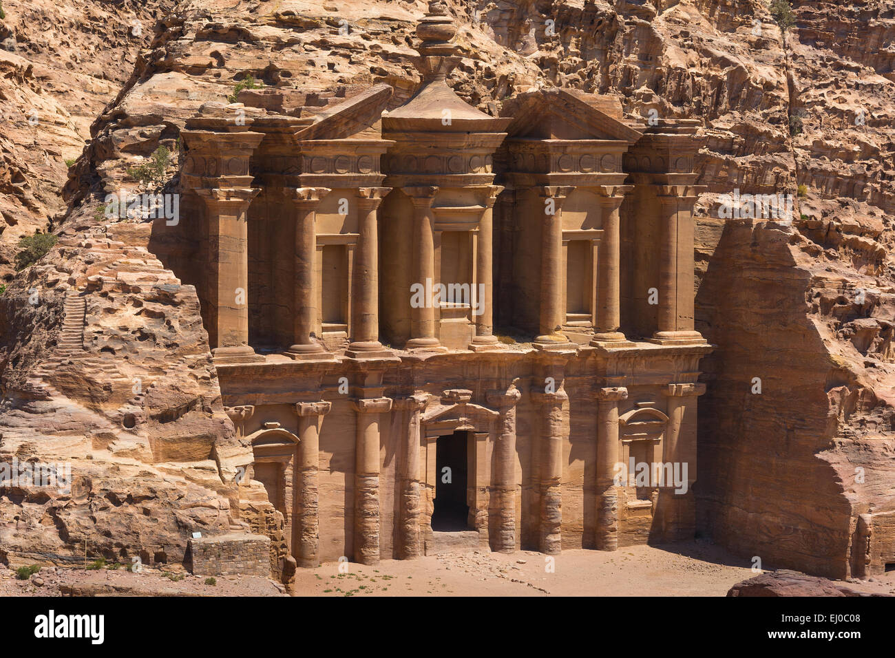 The al-Dayr tomb part of the Petra complex in Jordan  Similar to the famous Treasury carved building. - Stock Image