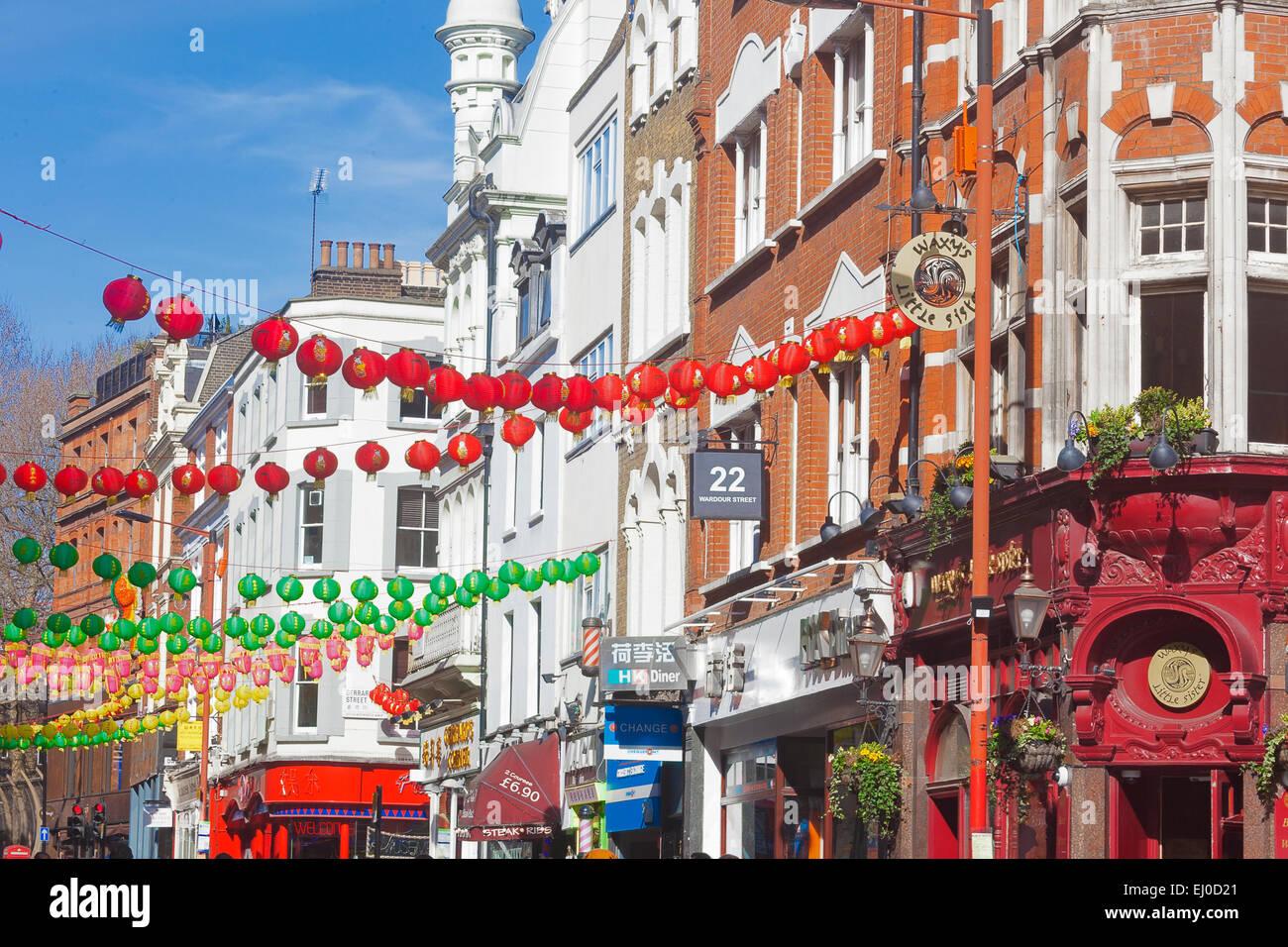 London, Soho    Wardour Street decorated with Chinese lanterns celebrating the Chinese New Year - Stock Image