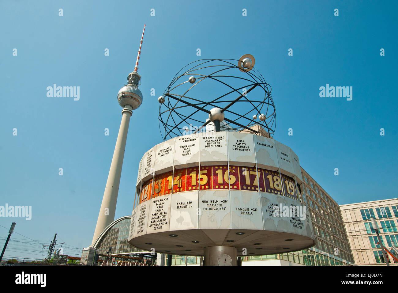 Germany, Berlin, monument, Urania, world time clock, clock, world time, Urania, Alexander place, block of flats, Stock Photo