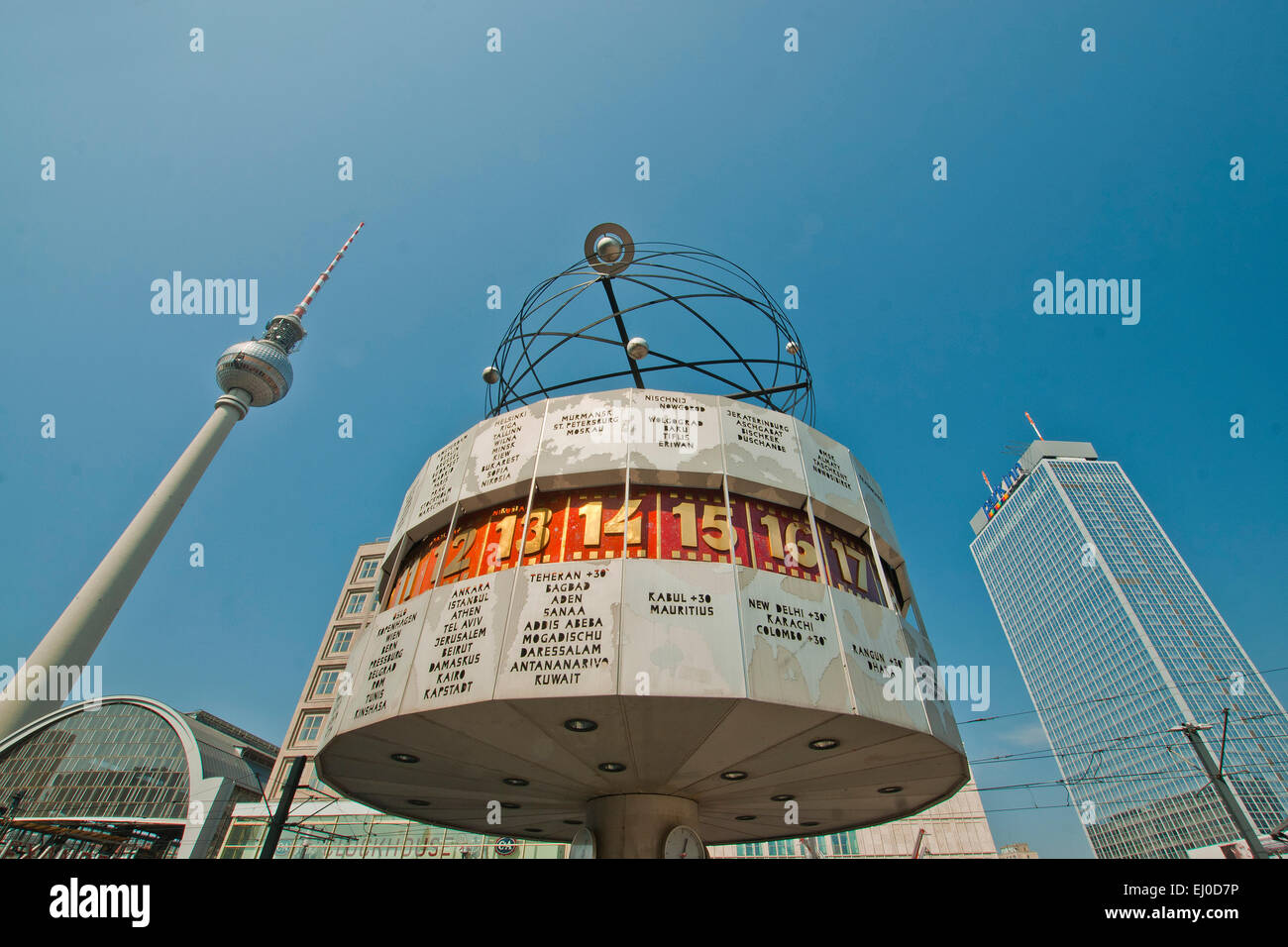 Germany, Berlin, monument, Urania, world time clock, clock, world time, Urania, Alexander place, block of flats, Stock Photo