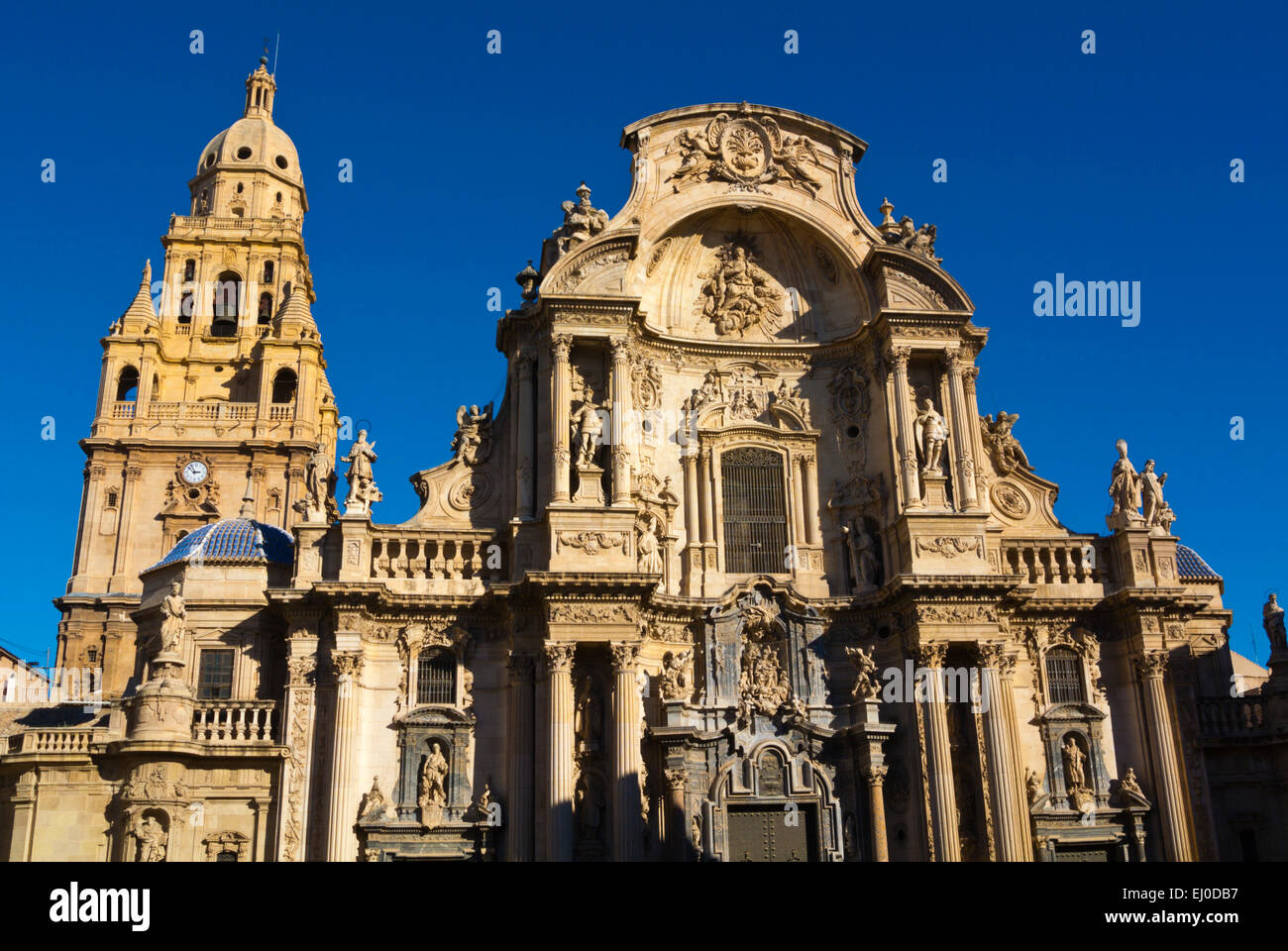 Catedral, the Cathedral church, Plaza del Cardenal Belluga square, old town, Murcia, Spain - Stock Image