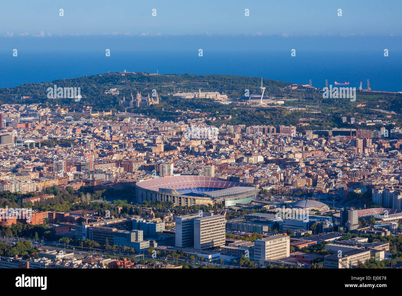 Barcelona, City, Hill, Montjuich, National, Nou Camp, Palace, Spain, Europe, Stadium, architecture, Catalonia, famous, - Stock Image